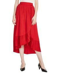 Maje - Jonette Faux Wrap Midi Skirt - Lyst