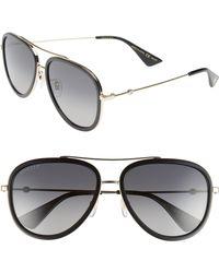 c8cb54fe00f Gucci - Web Block Pilot 57mm Polarized Aviator Sunglasses - - Lyst