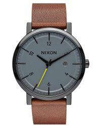 Nixon - 'rollo' Leather Strap Watch - Lyst