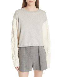 3.1 Phillip Lim - Cable Knit Sleeve Sweatshirt - Lyst