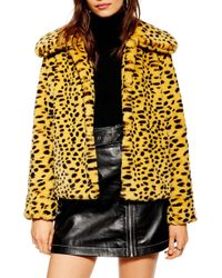 TOPSHOP - Cheetah Print Faux Fur Coat - Lyst