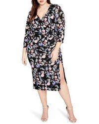 Rachel Roy | Ruched Floral Midi Dress | Lyst
