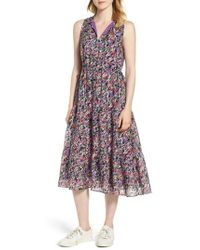 Nordstrom - Tiered Floral Silk Dress - Lyst