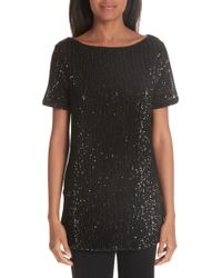 St. John - Pleated Sequin Embellished Tulle Tunic - Lyst