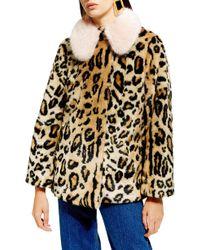TOPSHOP - Leopard Spot Faux Fur Coat - Lyst