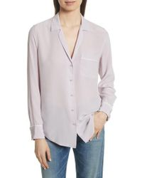 Equipment - Keira Piped Silk Shirt - Lyst