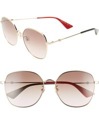 ed2e17a99ed Lyst - Gucci 57mm Round Sunglasses in Metallic