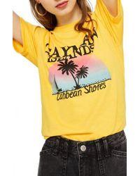 TOPSHOP - Cayman Island Print T-shirt - Lyst