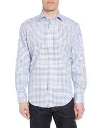 Thomas Dean - Regular Fit Windowpane Sport Shirt - Lyst