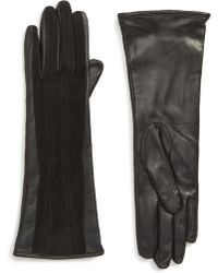 Badgley Mischka - Badgley Mischka Perforated Leather & Velvet Touchscreen Gloves - Lyst