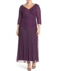 Pisarro Nights - Beaded V-neck Lace Illusion Gown - Lyst
