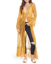 Band Of Gypsies - Bell Sleeve Lace Kimono - Lyst
