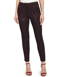 Reiss - Laura Metallic Houndstooth Ankle Pants - Lyst