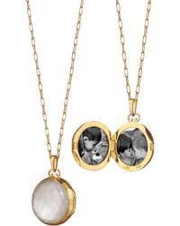 Monica Rich Kosann - Gold Rock Crystal Mother-of-pearl Petite Locket Necklace - Lyst
