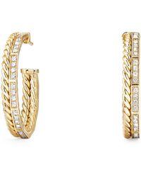 David Yurman - Stax Hoop Earrings With Diamonds In 18k Gold - Lyst