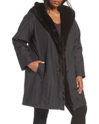 Gallery - A-line Storm Coat With Faux Fur Lining & Trim - Lyst