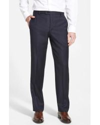 Hickey Freeman - 'b Series' Flat Front Wool Trousers - Lyst