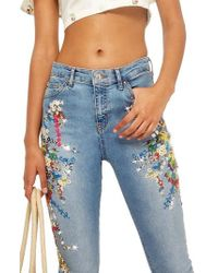 TOPSHOP - Moto Jamie Ditsy Embroidered Jeans - Lyst