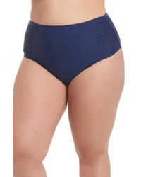 Jessica Simpson - Shirred High Waist Bikini Bottoms - Lyst