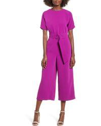 June & Hudson - Belted Culotte Jumpsuit - Lyst