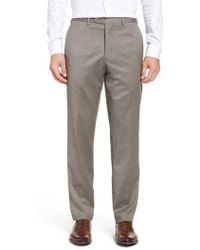 JB Britches | Flat Front Worsted Wool Trousers | Lyst