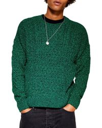 TOPMAN - Marl Cable Knit Sweater - Lyst