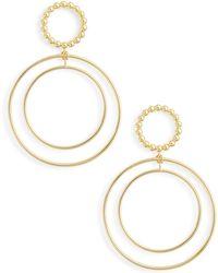 Argento Vivo - Beaded Double Hoop Drop Earrings - Lyst