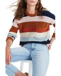 Madewell Thompson Rainbow Stripe Pocket Pullover Sweater - Multicolour