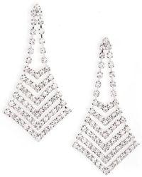 Nina - Crystal Chevron Chandelier Earrings - Lyst
