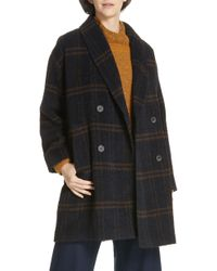 Eileen Fisher - Double Breasted Plaid Alpaca Blend Coat - Lyst