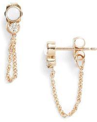 Zoe Chicco - Diamond & Opal Front Back Earrings - Lyst