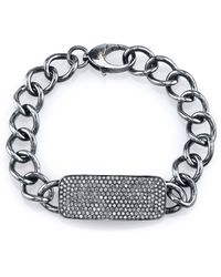 Sheryl Lowe - Diamond Pavé Bar Id Bracelet - Lyst