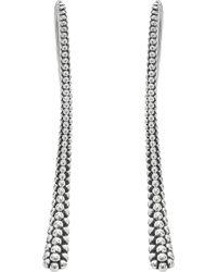 Lagos - Sterling Silver Signature Caviar Bead Skinny Drop Earrings - Lyst