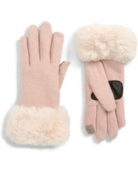 Echo - Faux Fur Cuff Touchscreen Gloves - Lyst