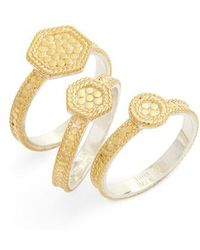 Anna Beck - Gold Plate Geometric Set Of 3 Stacking Rings - Lyst