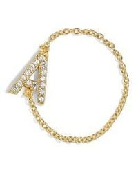 BaubleBar - Nome Everyday Fine Crystal Initial Chain Ring - Lyst