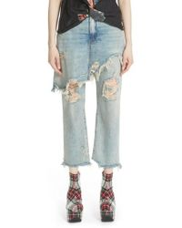 R13 - Double Classic Ripped Crop Jeans - Lyst