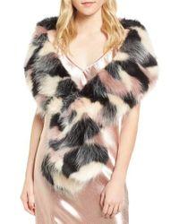 Sole Society - Oversized Faux Fur Wrap - Lyst