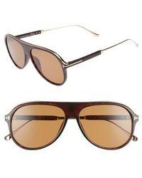 274e2a89a8 Tom Ford - Nicholai 57mm Aviator Sunglasses - Dark Havana  Brown - Lyst