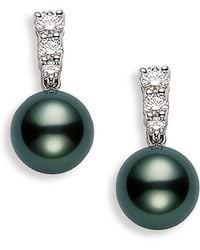 Mikimoto - 'morning Dew' Black South Sea Cultured Pearl & Diamond Earrings - Lyst