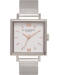 Olivia Burton - Big Square Mesh Strap Watch - Lyst