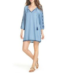 Tommy Bahama | Embroidered Chambray Cover-up Dress | Lyst