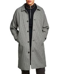 TOPMAN - Longline Check Mac Jacket - Lyst