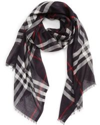 Burberry | Giant Check Print Wool & Silk Scarf | Lyst