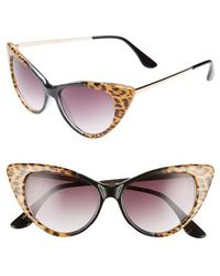 Glance Eyewear - 62mm Leopard Print Cat Eye Sunglasses - Leopard/ Black - Lyst