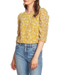 1.STATE - Wild Blooms Ruched Sleeve Blouse - Lyst