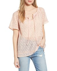 Hinge - Lace Popover Blouse - Lyst