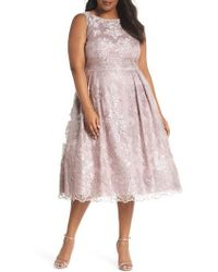 Adrianna Papell - Metallic Embroidered Tea Length Dress - Lyst