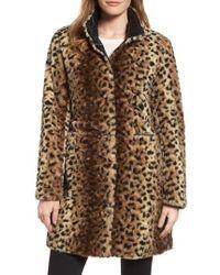 Via Spiga | Reversible Faux Leopard Fur Coat | Lyst