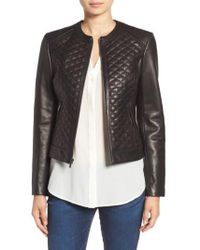 Cole Haan - Quilted Leather Moto Jacket - Lyst